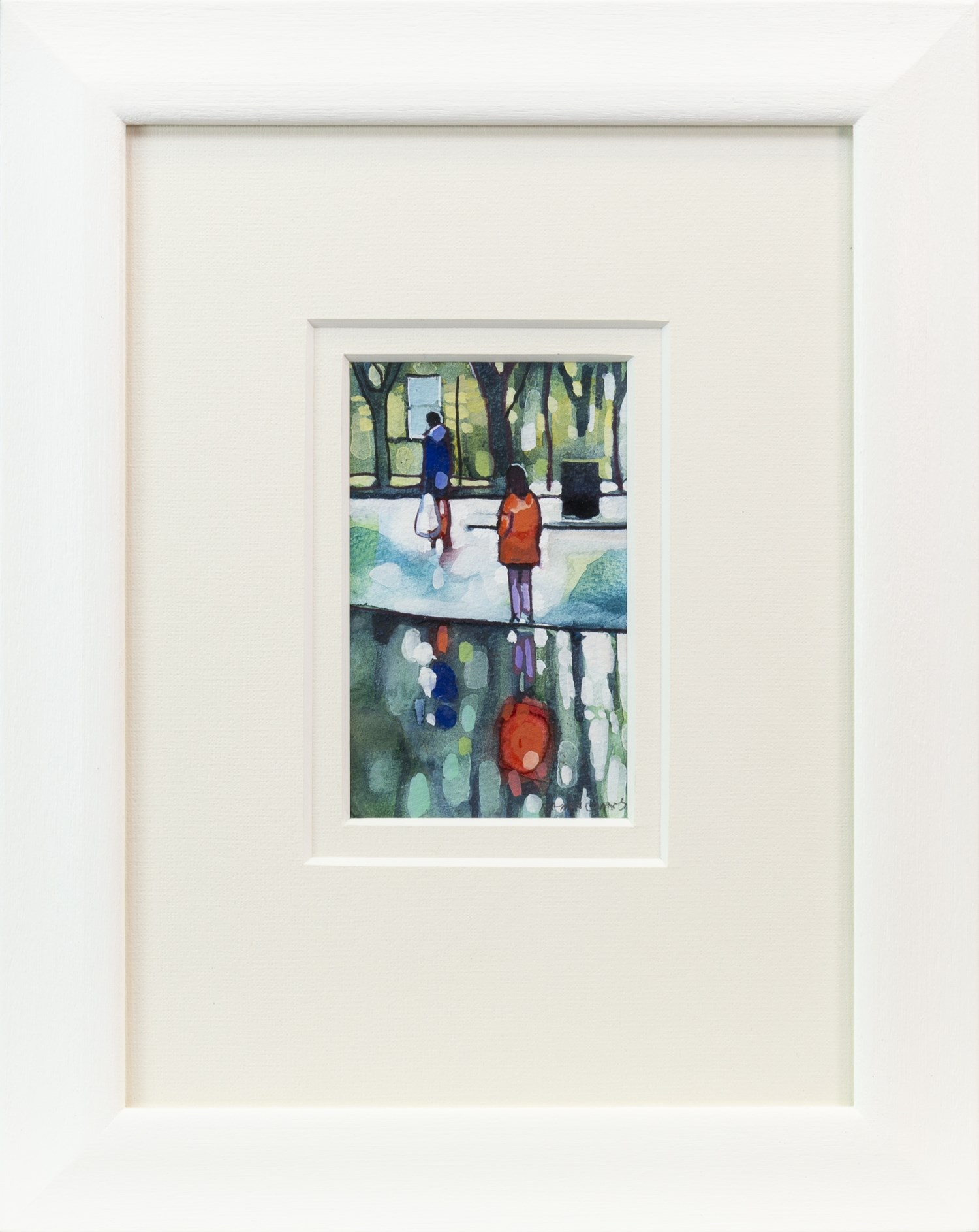 Lot 115 - REFLECTIONS IN RED, KELVINGROVE, A WATERCOLOUR BY BRYAN EVANS