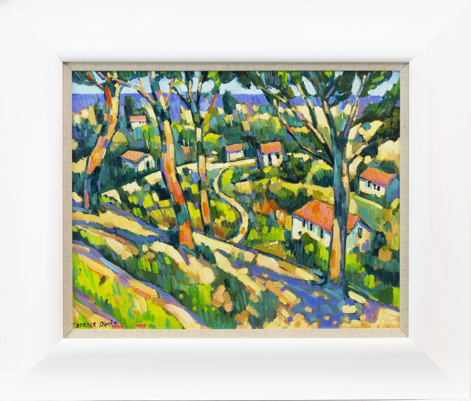 Lot 57 - LANDSCAPE WITH TREES AND RED ROOFED COTTAGES, AN OIL ON CANVAS BY TERENCE CLARKE