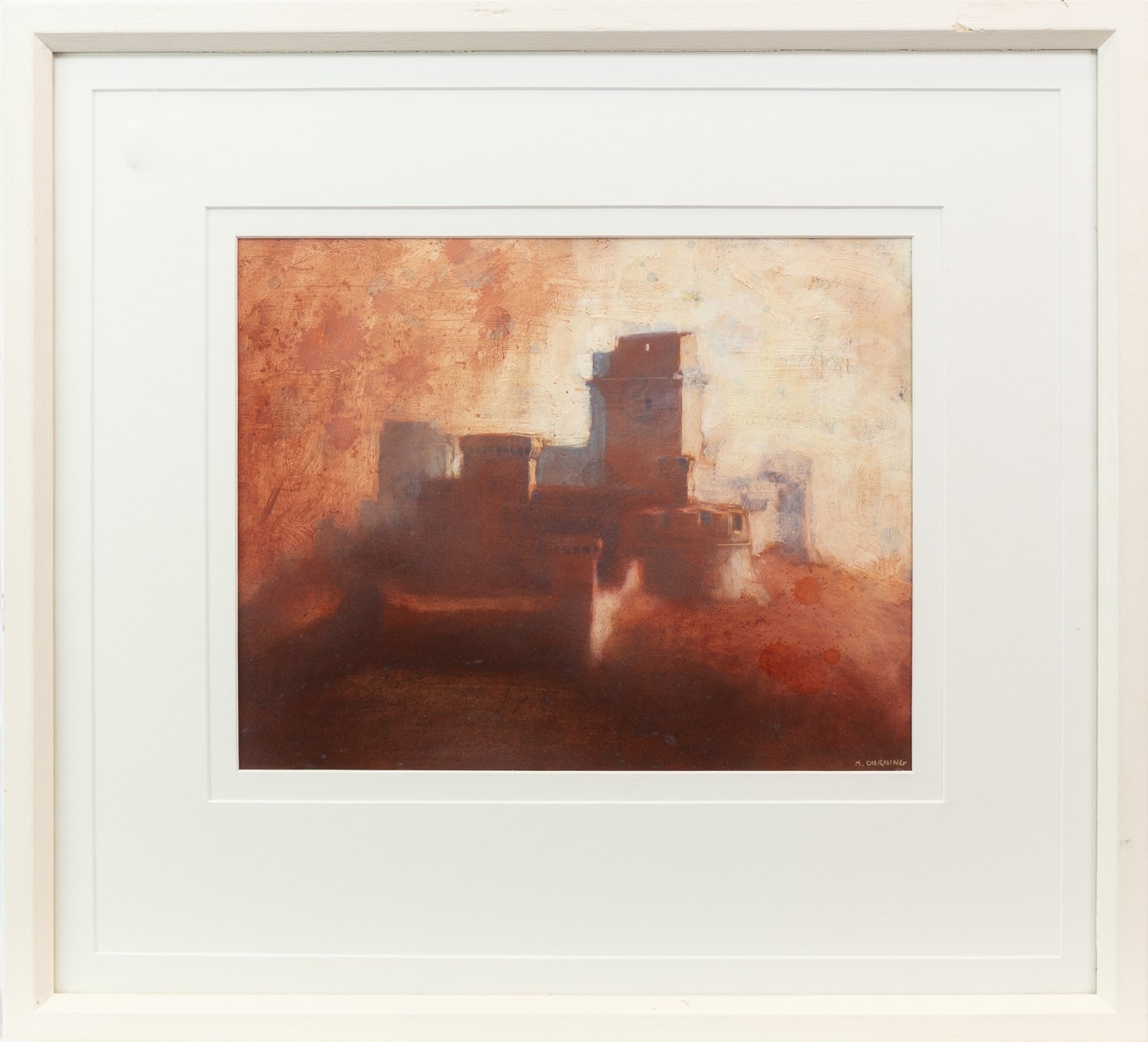 Lot 69 - ROCCA MAGCHORE, ASSISI, AN ACRYLIC ON BOARD BY MICHAEL DURNING