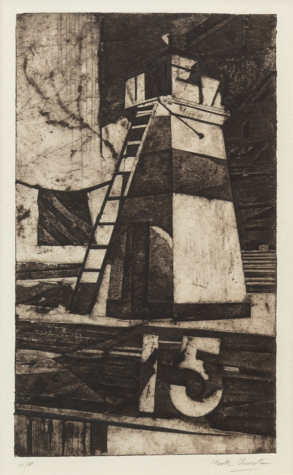 Lot 94 - CRINAN LIGHT, AN ARTIST'S PROOF ETCHING BY MARK CHEVERTON
