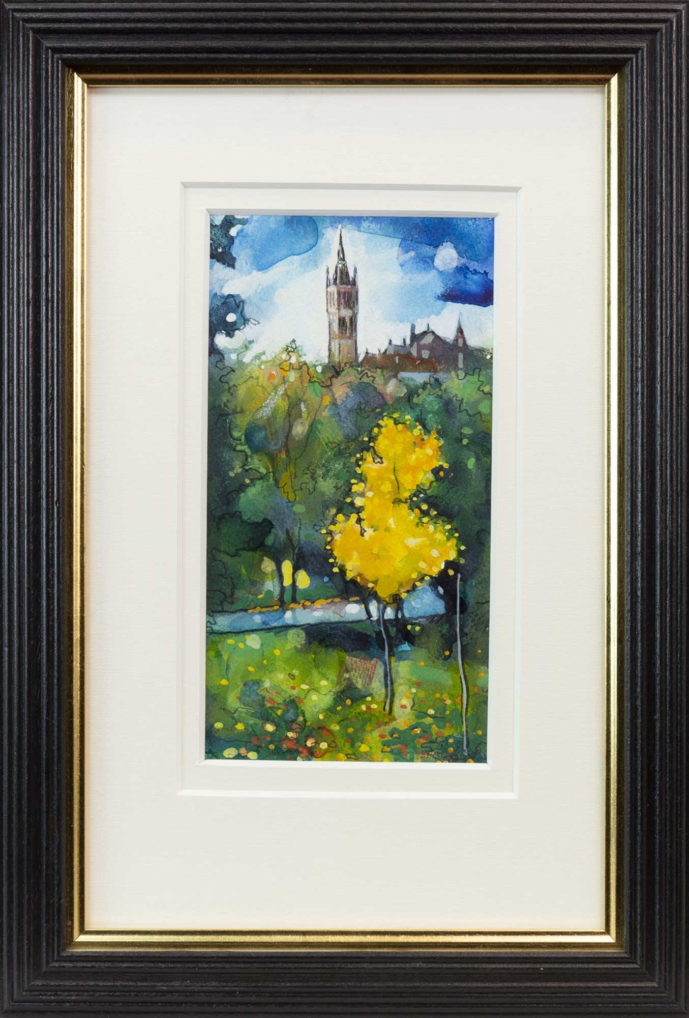 Lot 3 - GLASGOW UNIVERSITY FROM KELVINGROVE, A WATERCOLOUR BY BRYAN EVANS
