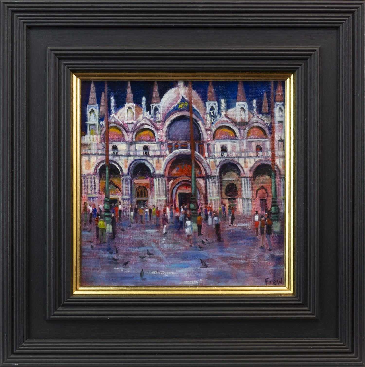 Lot 112 - PIGEONS IN VENICE, AN OIL ON CANVAS BY DOREEN E DAVIS