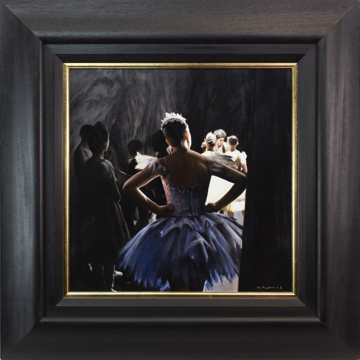 Lot 45 - THE VIEW FROM BACKSTAGE, AN OIL ON CANVAS BY GERARD BURNS