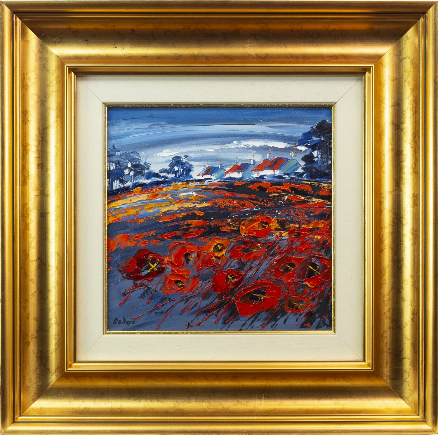 Lot 104 - SUMMER POPPIES, ABERLADY, AN OIL ON CANVAS BY LYNN RODGIE
