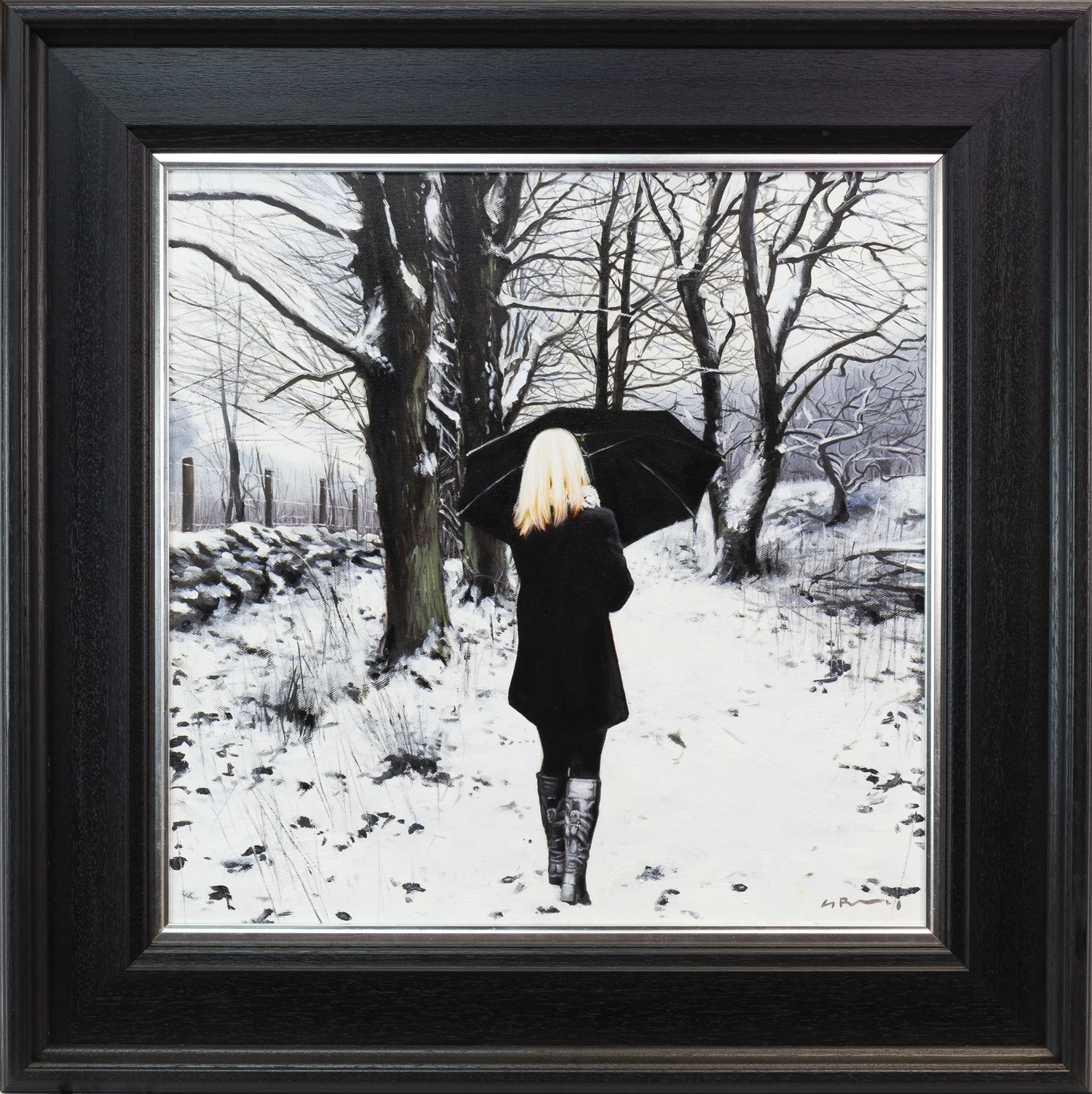 Lot 48 - BLACK COAT IN WINTER, AN OIL ON CANVAS BY GERARD BURNS
