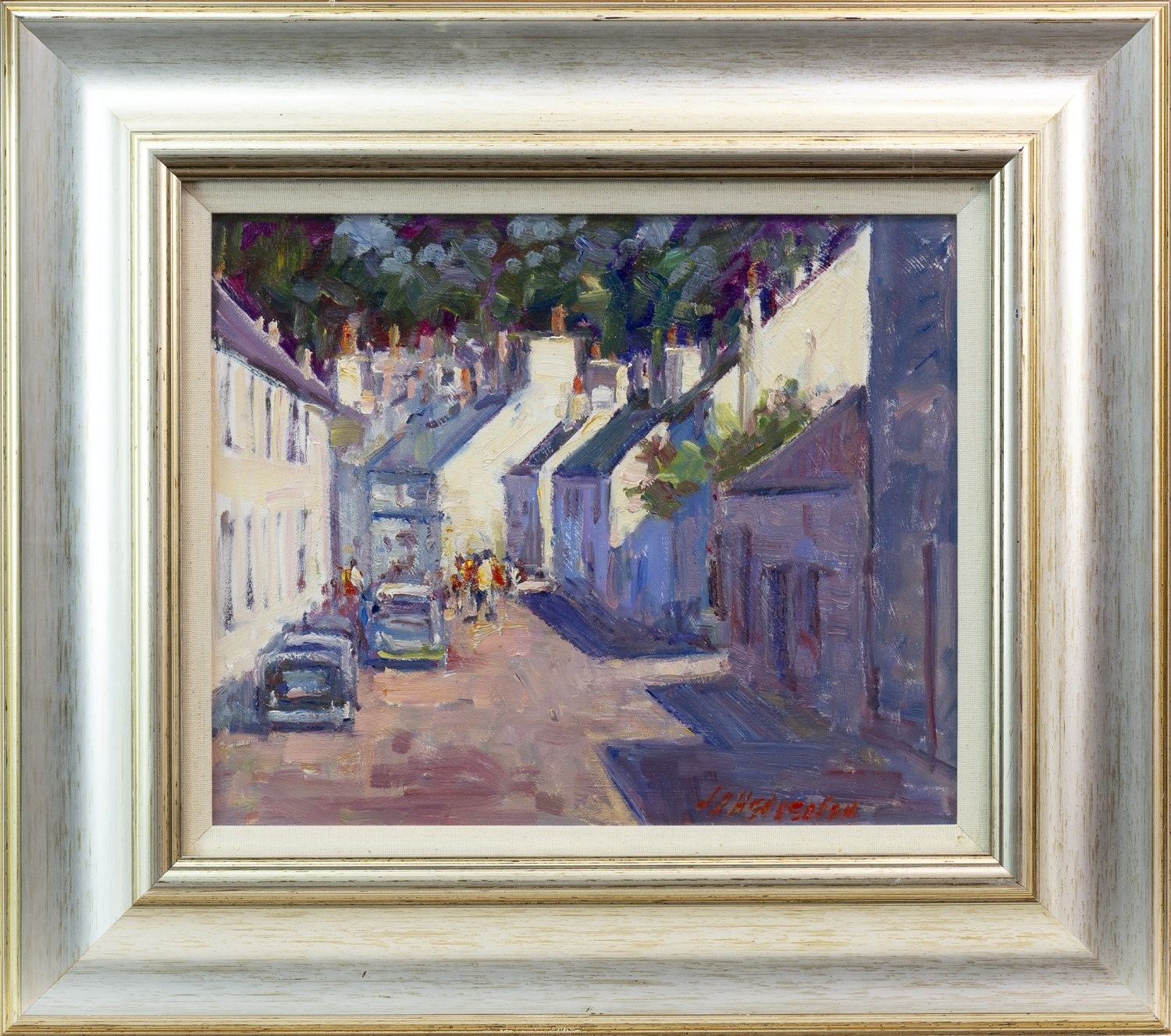 Lot 75 - DUNKELD COTTAGES, AN OIL ON BOARD BY JD HENDERSON