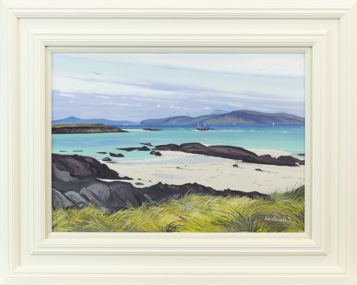 Lot 118 - IONA BEACH TO MULL AND BEN MORE, AN OIL ON BOARD BY FRANK COLCLOUGH
