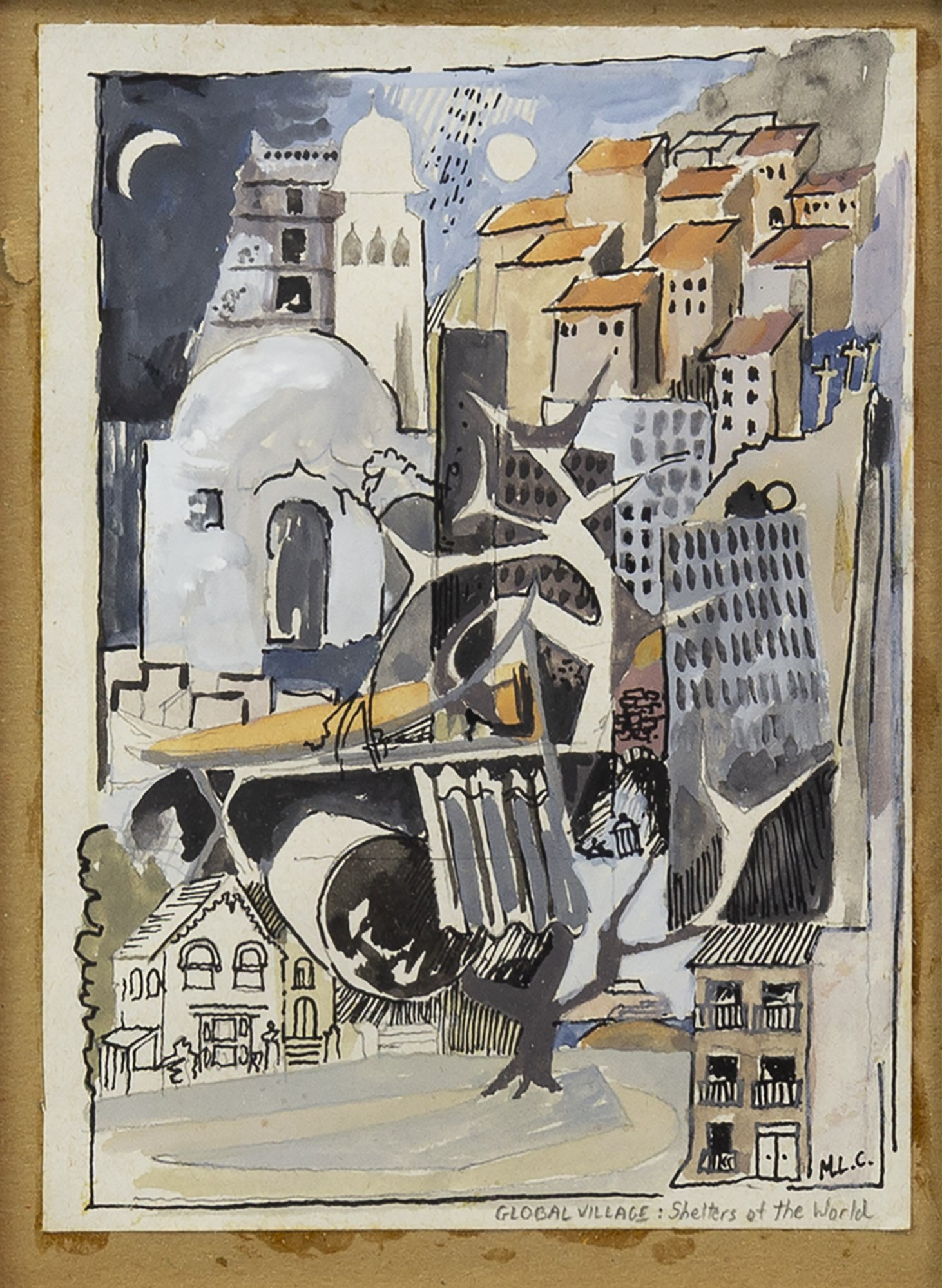 Lot 93 - GLOBAL VILLAGE: SHELTERS OF THE WORLD, A MIXED MEDIA BY MARK CHEVERTON