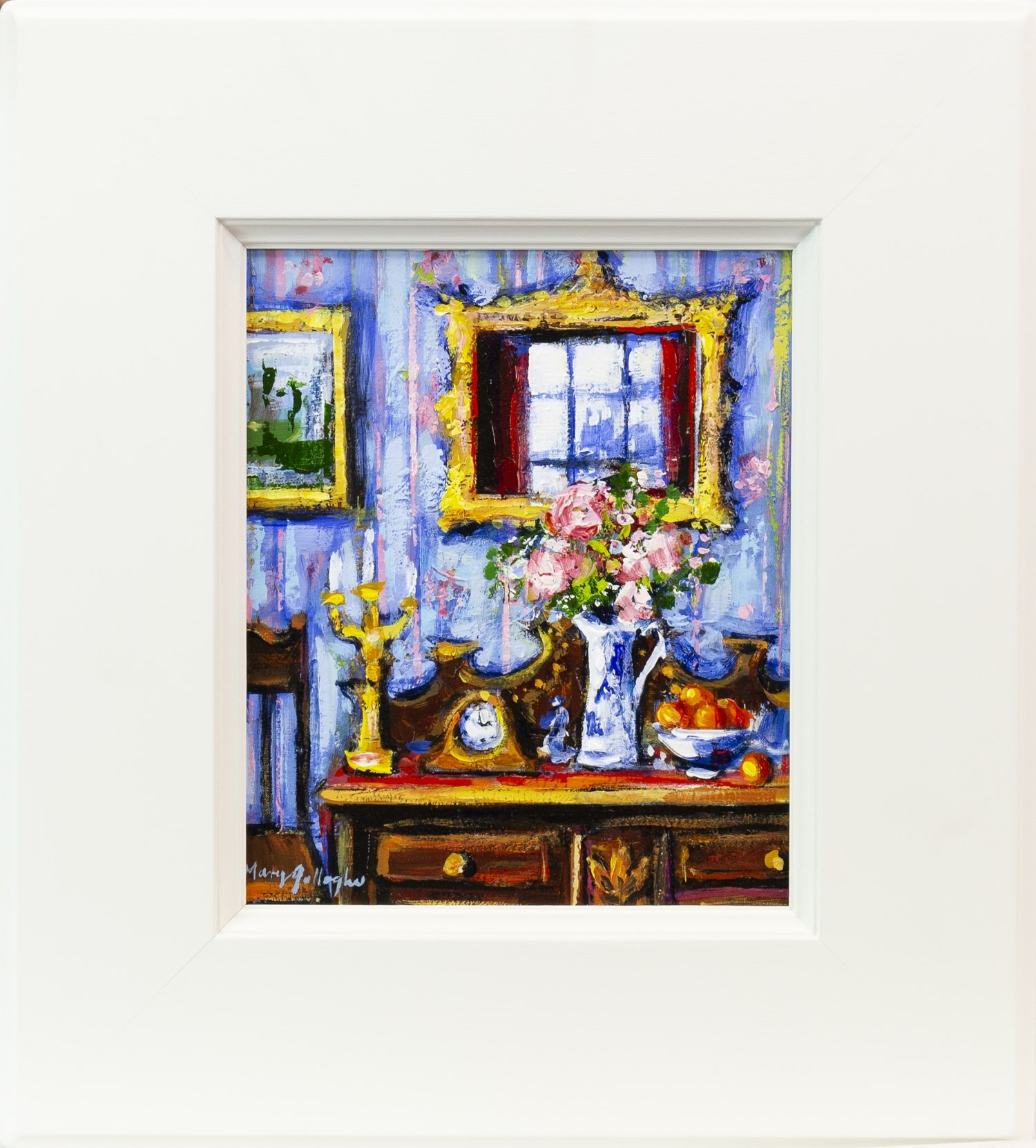 Lot 62 - GRAND INTERIOR WITH CHINESE JUG, AN OIL ON BOARD BY MARY GALLAGHER