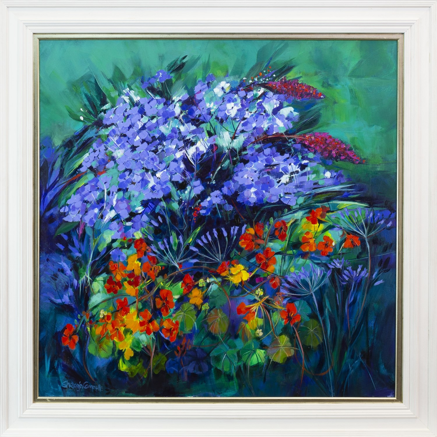 Lot 113 - BLOOMING LOVELY, AN ACRYLIC ON CANVAS BY SHELAGH CAMPBELL