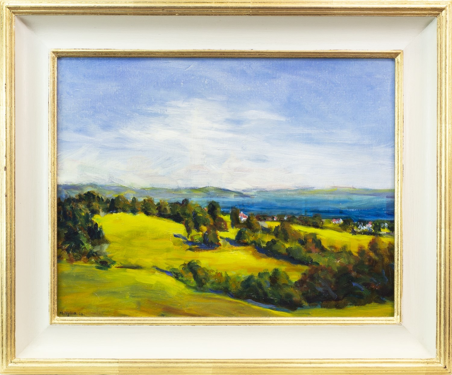 ROSNEATH POINT FROM OLD GREENOCK ROAD, LANGBANK, AN OIL ON BOARD BY MARION WYLLIE