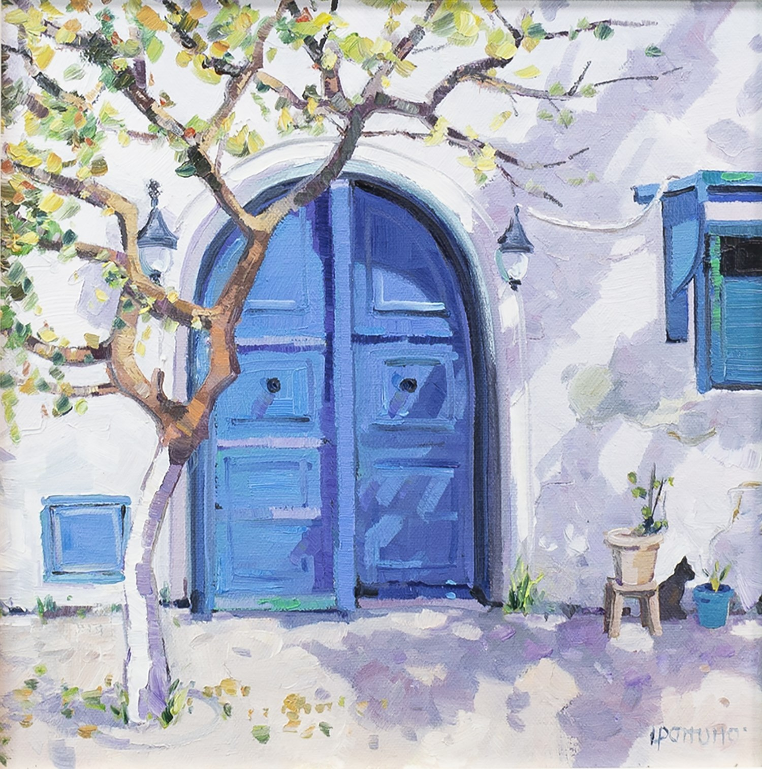 Lot 88 - THE BLUE DOOR, AN OIL ON CANVAS BY LIN PATTULLO