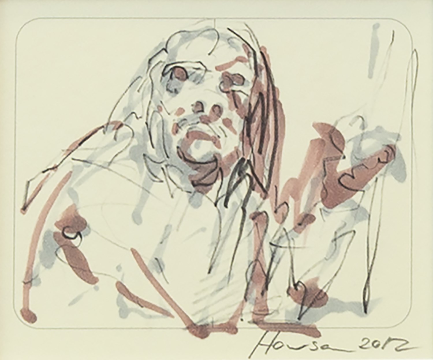 Lot 80 - AN INK AND WASH, BY PETER HOWSON