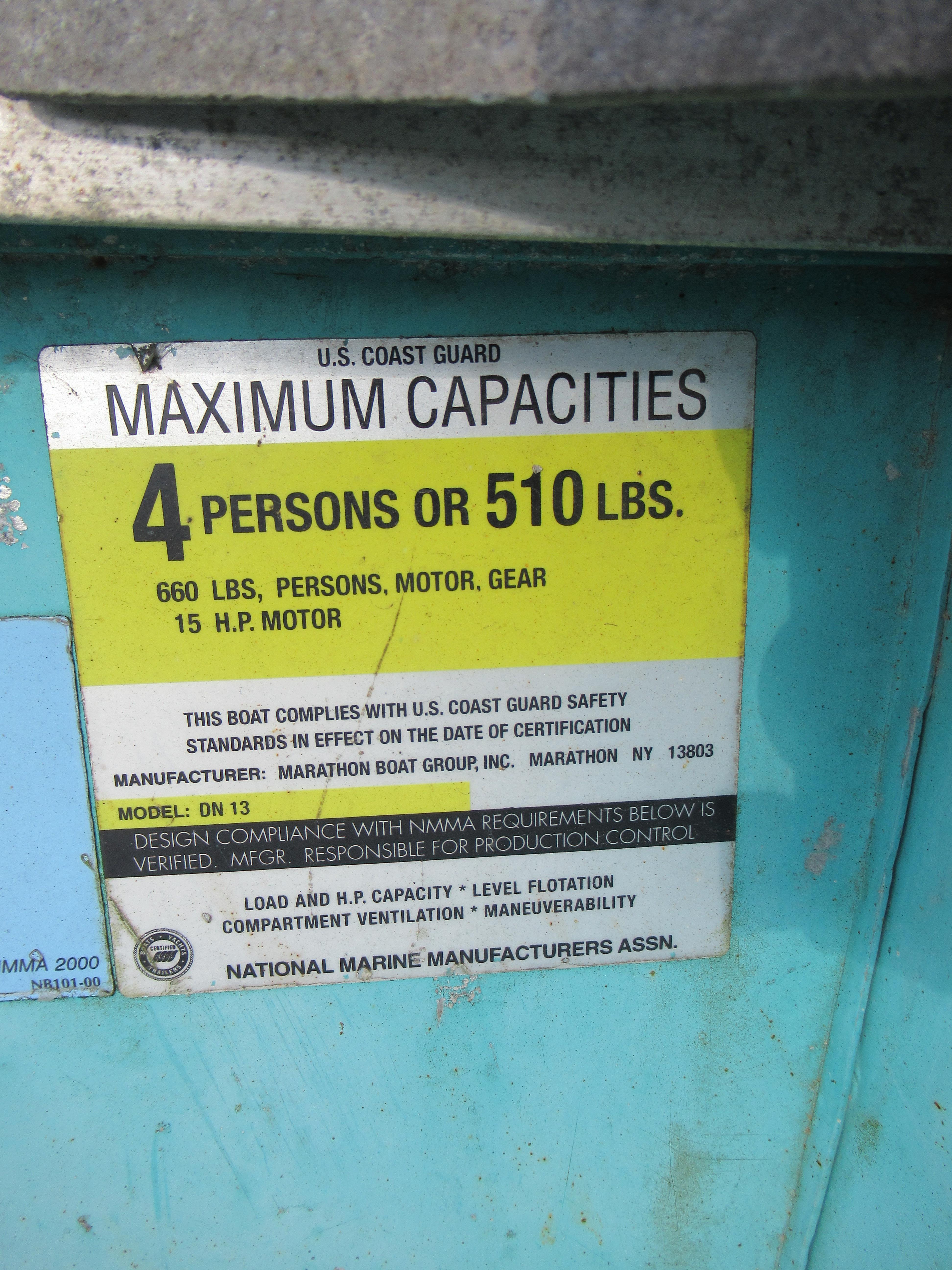 """Lot 40 - MARATHON """"DURANAUTIC 13"""" BOAT (NO MOTOR), [2] OARS, 4-PERSON, 660#, WITH SEA LION MDL. S-14-800E"""