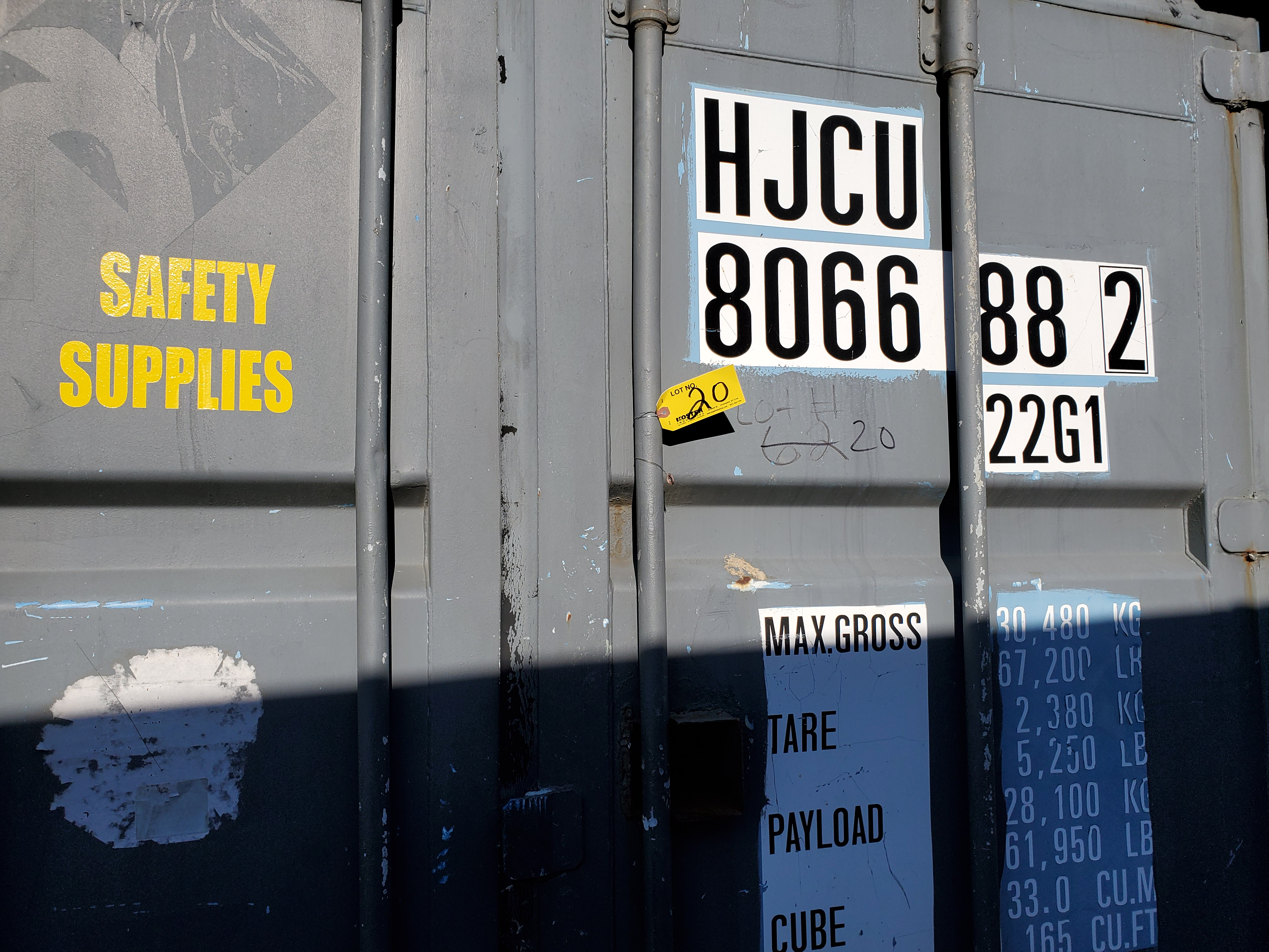 Lot 20 - 20' SHIPPING CONTAINER (#1) [LOCATED @ 6 CANAL ROAD, PELHAM, NY (BRONX)]