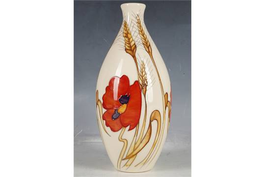a contemporary moorcroft ovoid stem vase poppy and ears of corn