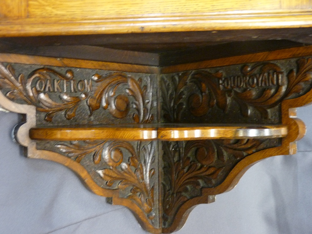 FINE CARVED OAK HANGING CORNER CUPBOARD, carved inscription 'Oak From Foudroyant' and a bow - Image 3 of 3