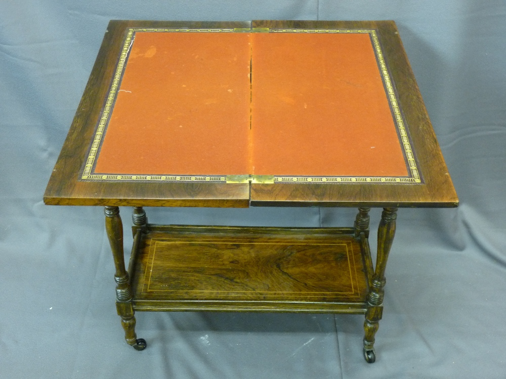 Lot 2 - ROSEWOOD TWO-TIER FOLD-OVER CARD TABLE with baize top and inlay, on castors, 75cms height, 77cms