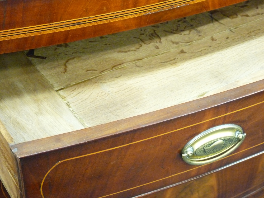 Lot 20 - GEORGIAN STYLE BOW FRONTED CHEST of four long drawers with inlay detail, 108cms height, 122cms