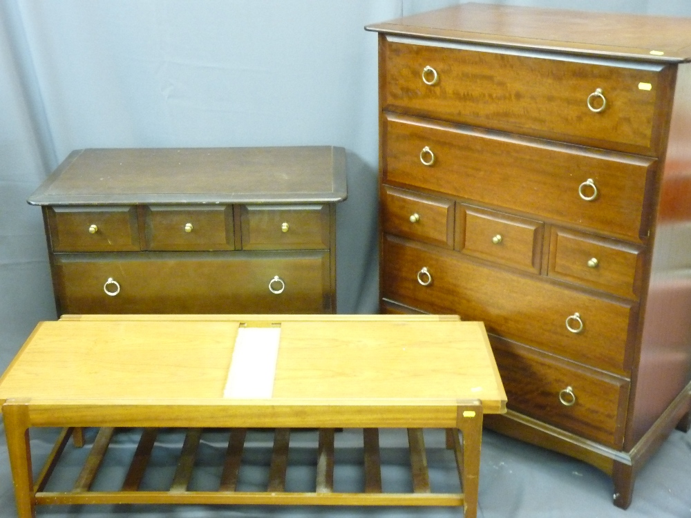 Lot 78 - TWO STAG BEDROOM CHESTS and a Remploy extending coffee table with tiled insert and ladder base