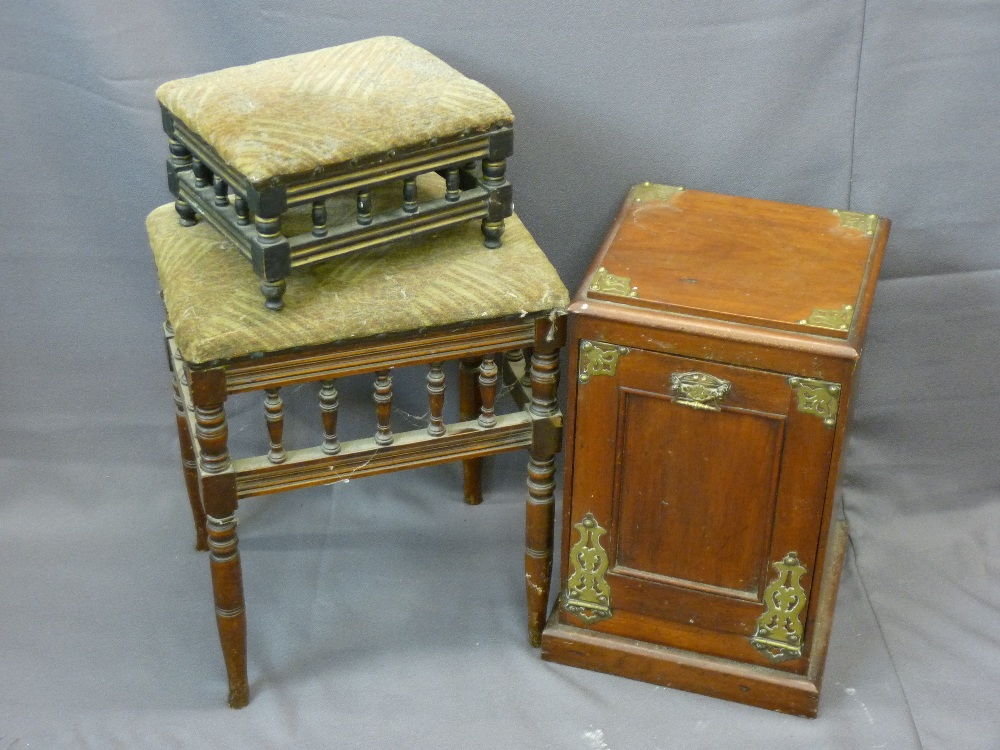 Lot 73 - MAHOGANY FALL FRONT COALBOX, a vintage stool with spindle detail and a similar footstool with