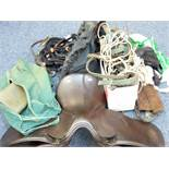 LEATHER HORSE RIDING SADDLE by Ideal Saddle Company, Walsall and a parcel of associated items