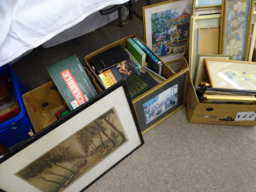 Lot 283 - LARGE PARCEL OF TAPESTRIES, PRINTS, PAINTINGS ETC, a quantity of mixed books and vintage board