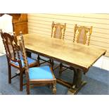 FINE ANTIQUE FOUR PLANK REFECTORY TABLE with carved edge details and four cane back twist support