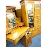 EDWARDIAN SATINWOOD THREE PIECE BEDROOM SUITE comprising mirrored wardrobe and dressing table with a