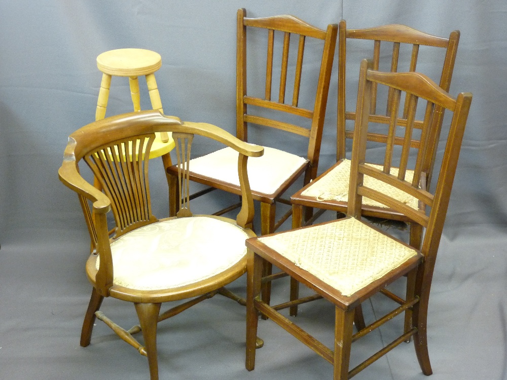Lot 36 - PARCEL OF THREE SIMILAR INLAID BEDROOM CHAIRS, a single tub chair and a kitchen stool ETC