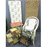 VINTAGE FOUR SECTION FOLDING DRESSING SCREEN along with a three section folding screen, bamboo two