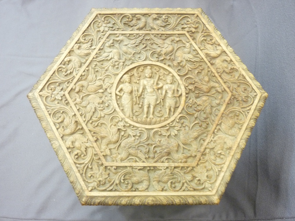 Lot 4 - EASTERN OCTAGONAL SHAPED OCCASIONAL TABLE WITH HEAVY CARVINGS