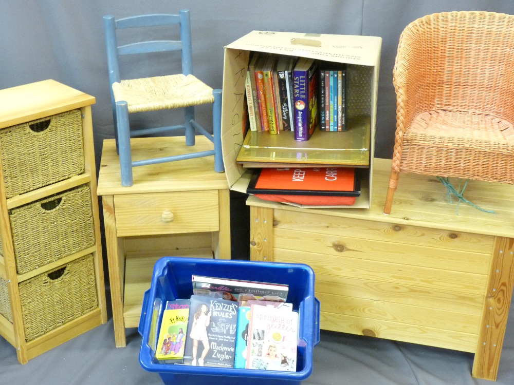 PINE STORAGE BOX, side table with drawer, three basket storage shelf, small cane chair, string