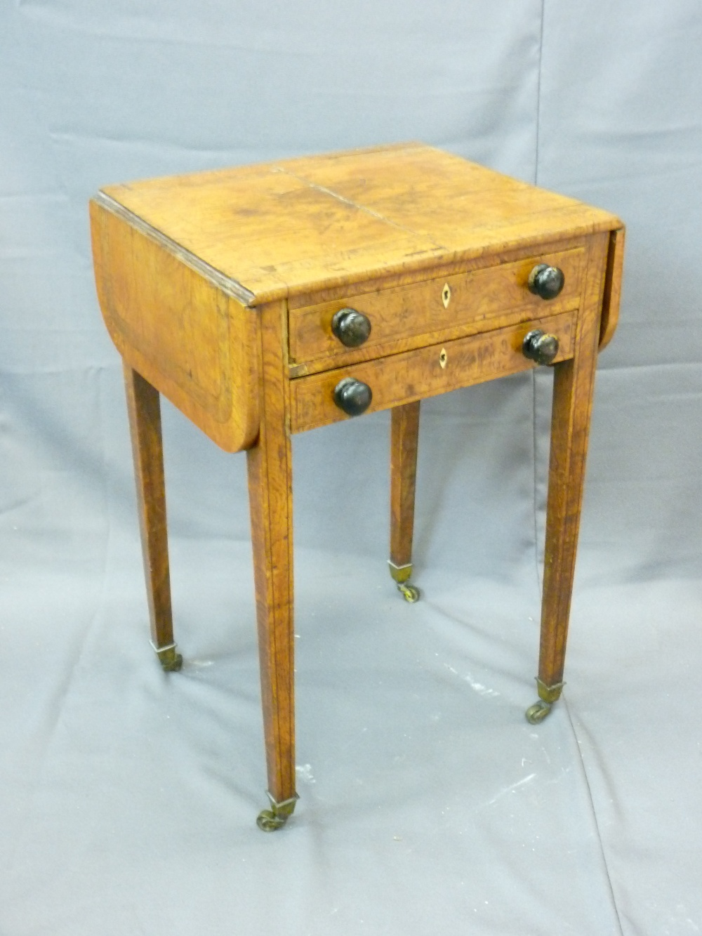 Lot 8 - BURR WALNUT LADY'S WRITING DESK with twin flaps and interior writing pad on tapered supports,