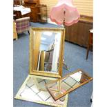 FANCY STANDARD LAMP and two excellent bevel gilt framed wall mirrors and one other