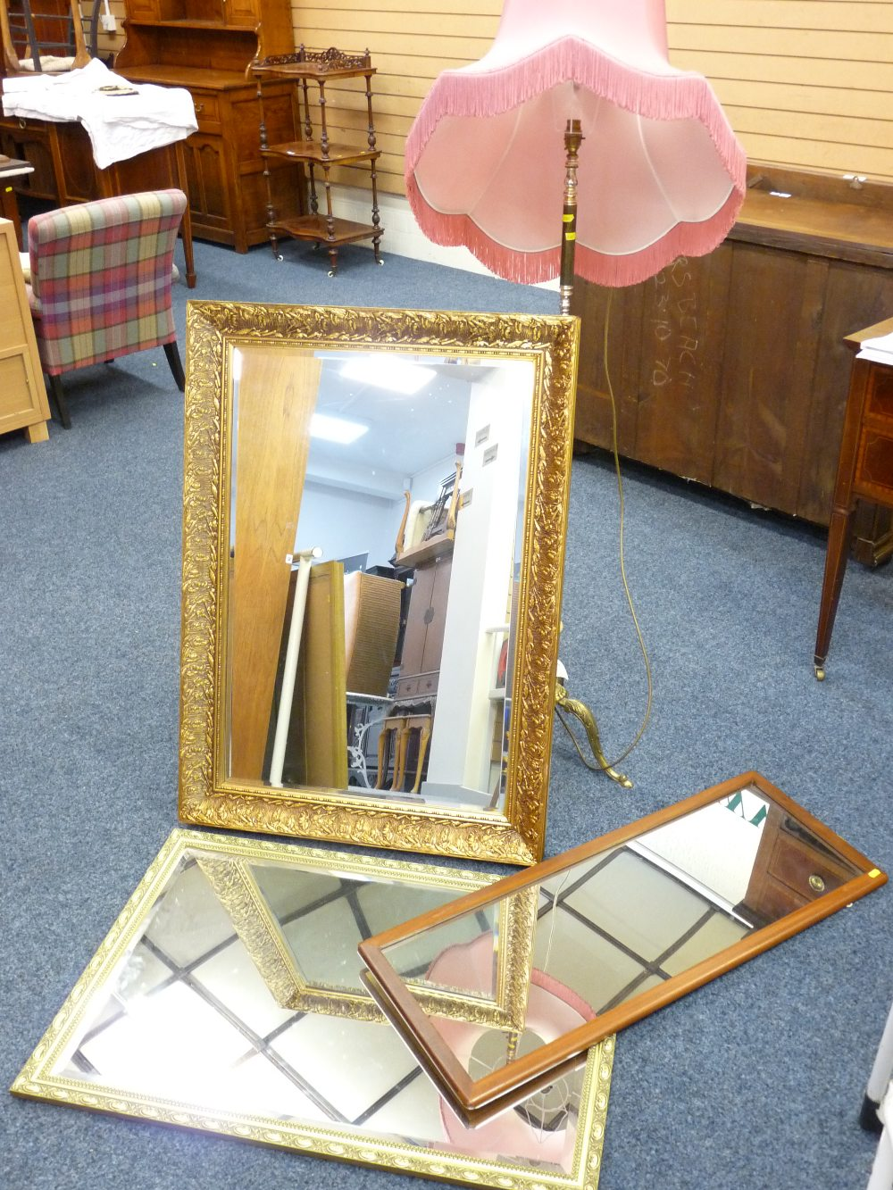 Lot 56 - FANCY STANDARD LAMP and two excellent bevel gilt framed wall mirrors and one other