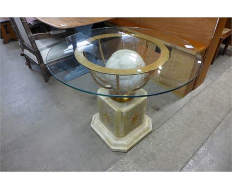 An Italian style marble, gilt metal and glass topped table