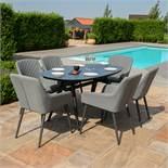 Zest 6 Seat Oval Outdoor Fabric Dining Set (Flanelle) *BRAND NEW*