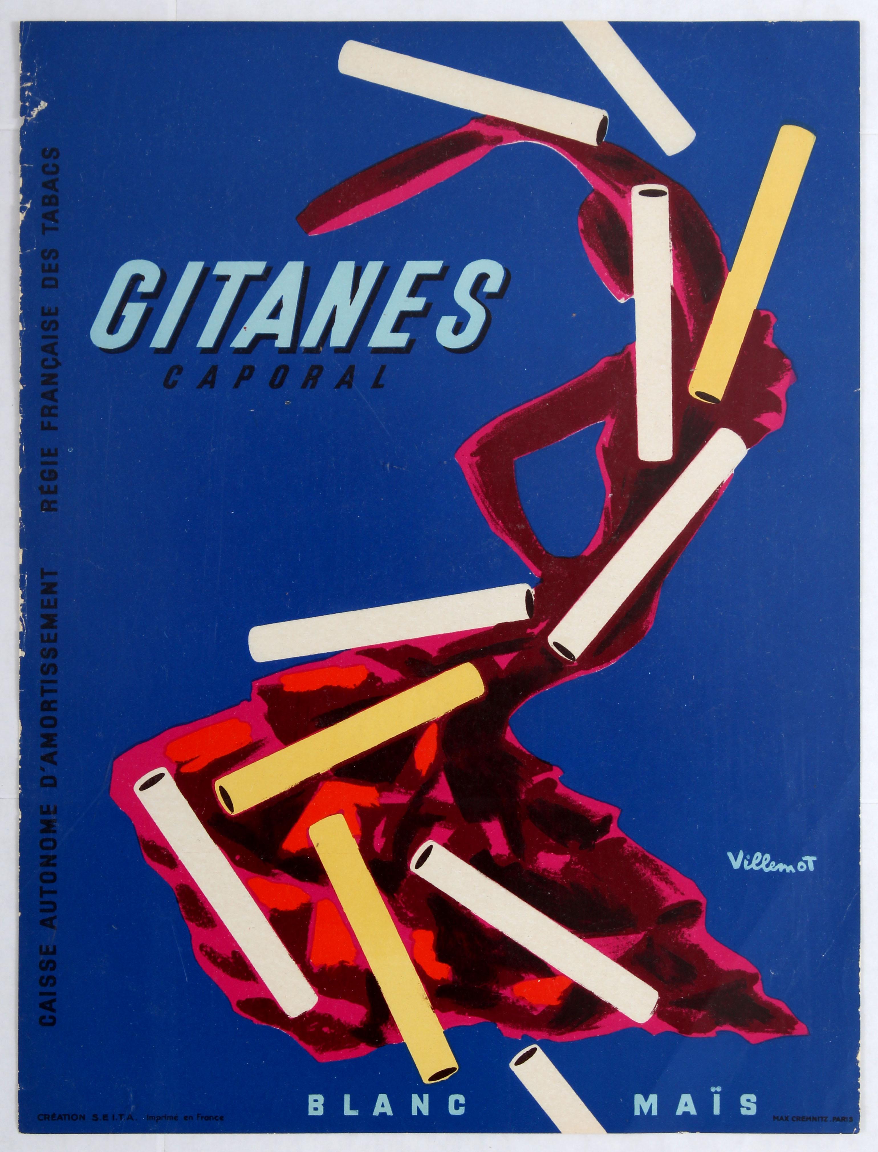 Lot 1507 - Advertising Poster Gitanes Caporal Cigarettes Villemot