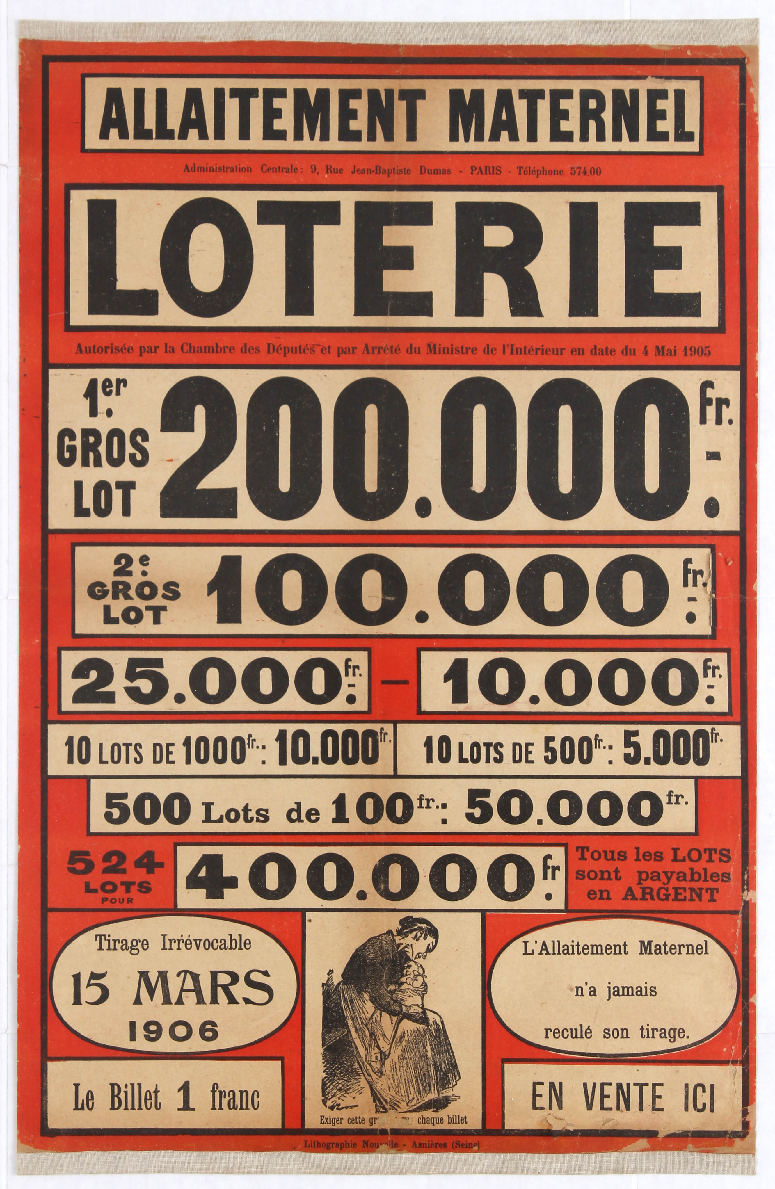 Lot 1003 - Advertising Poster French Lottery Poster 1906