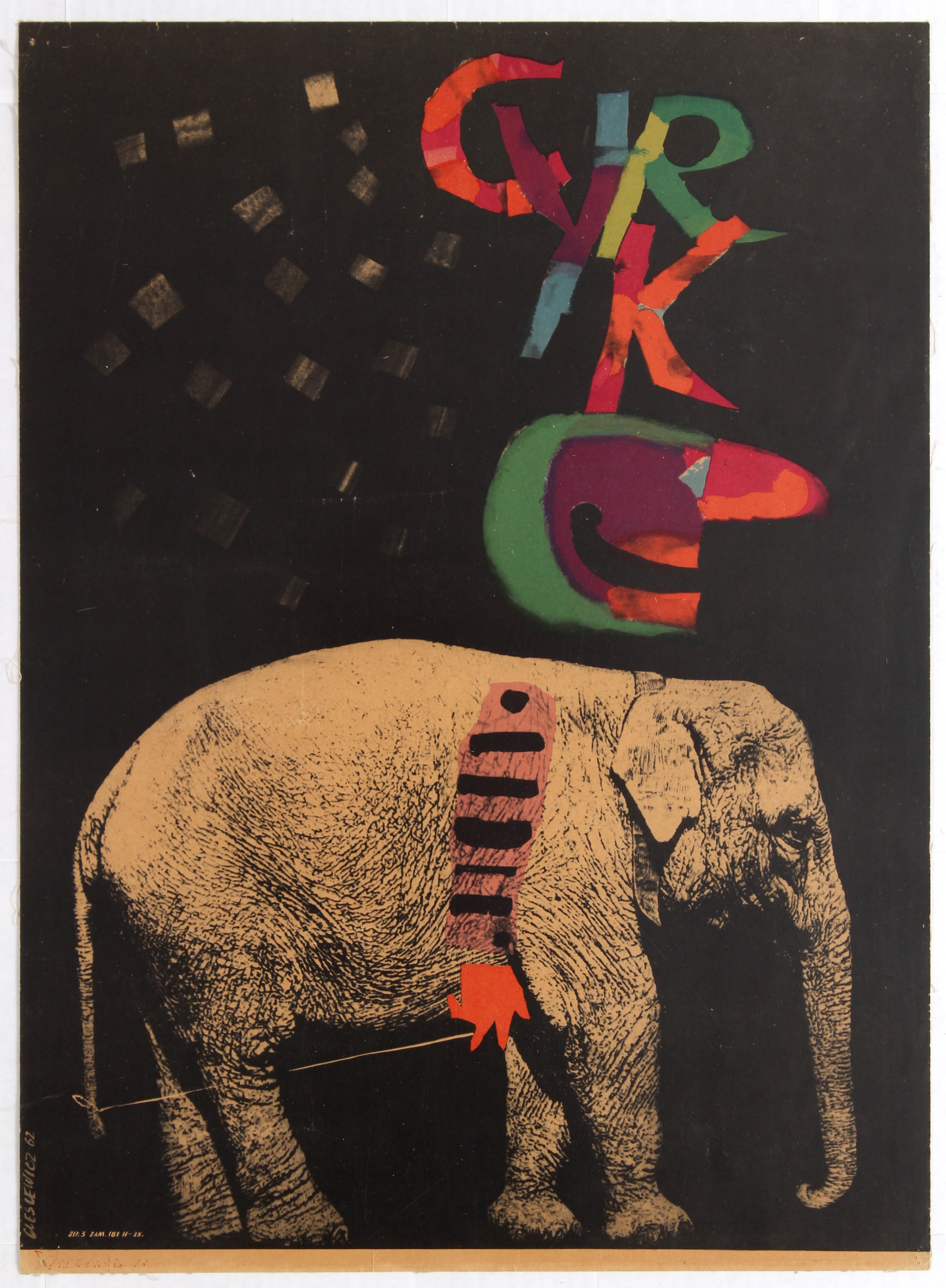 Lot 1604 - Advertising Polish Circus poster – Cyrk, Elephant
