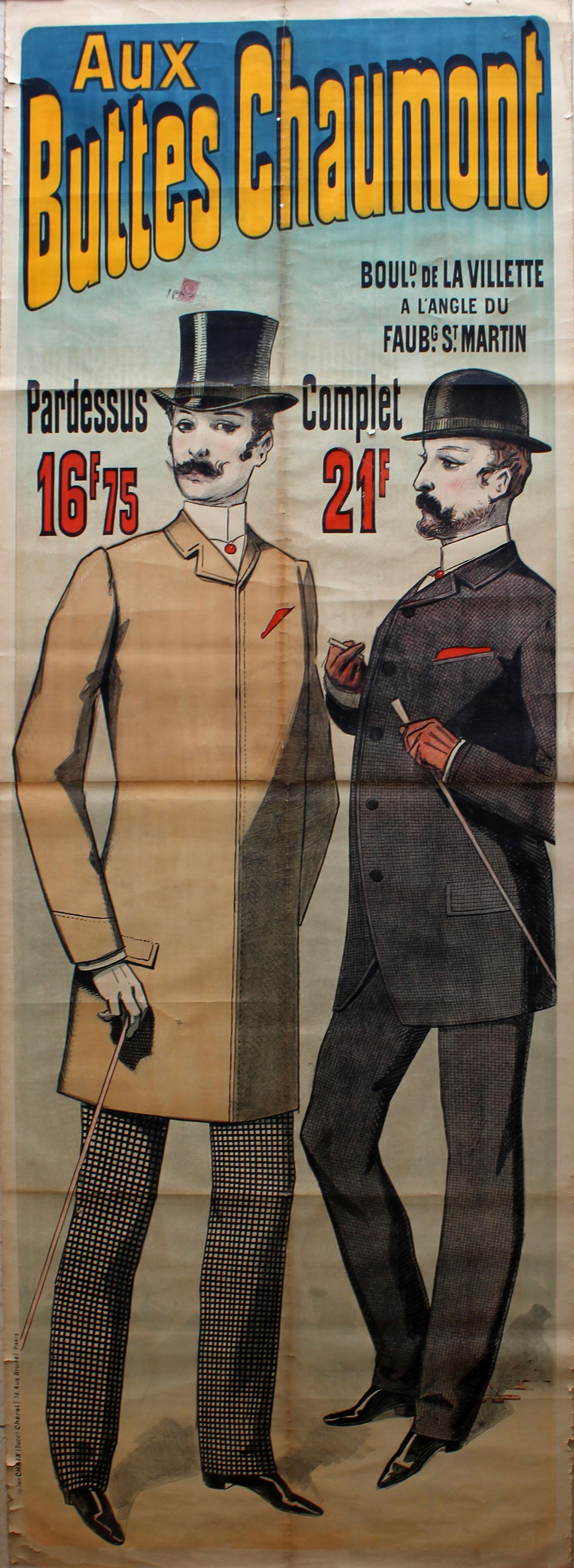 Lot 1018 - Advertising Poster Aux Buttes Chaumont Paris Cheret