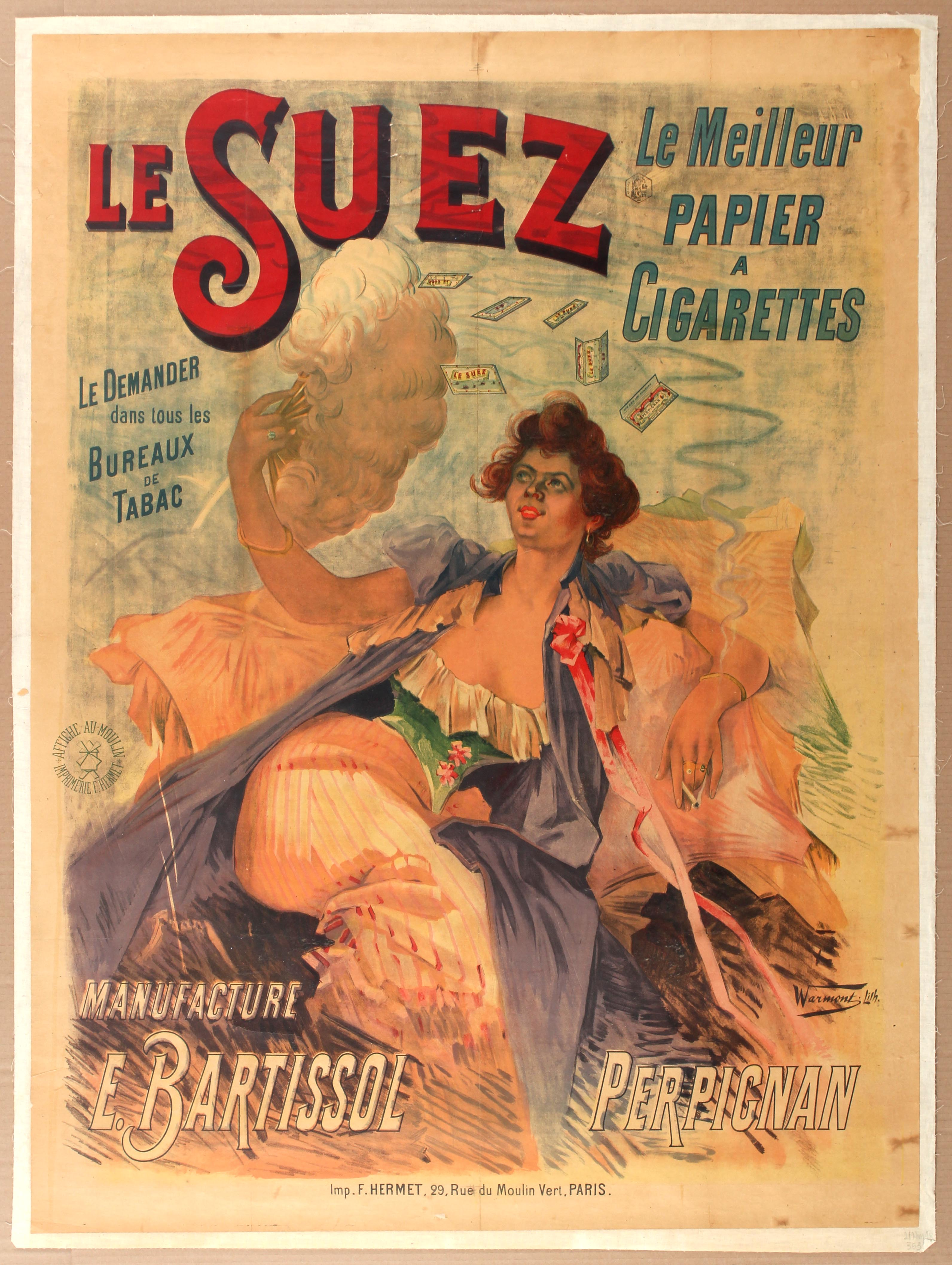 Lot 1015 - Advertising Poster Cigarette Le Suez France