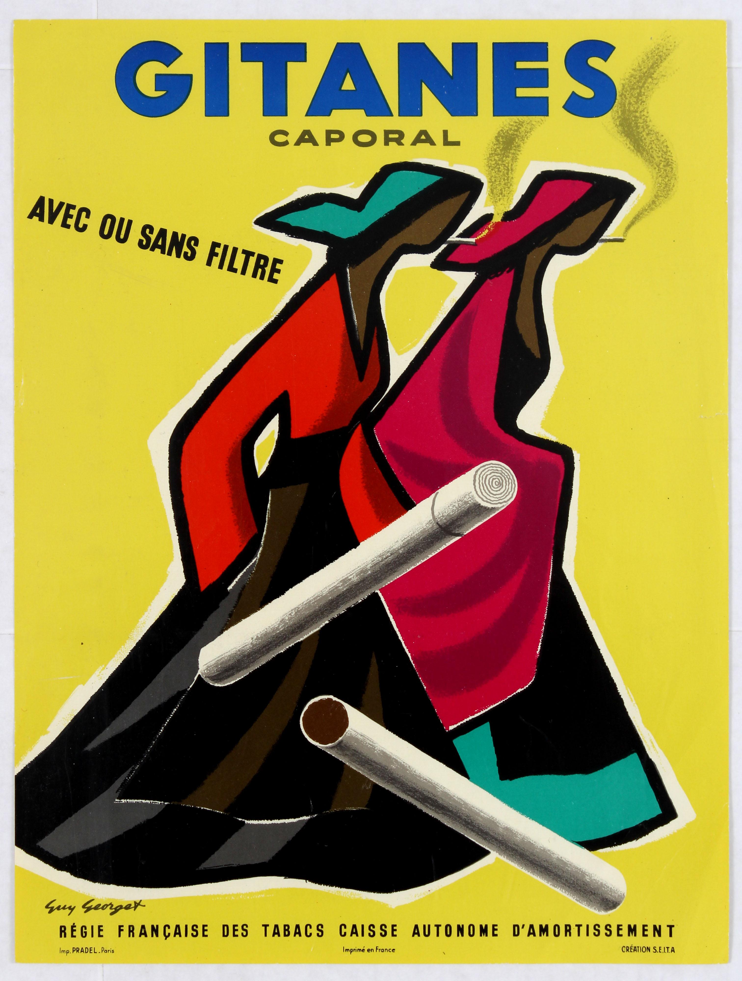 Lot 1508 - Advertising Poster Gitanes Caporal Cigarettes Georget
