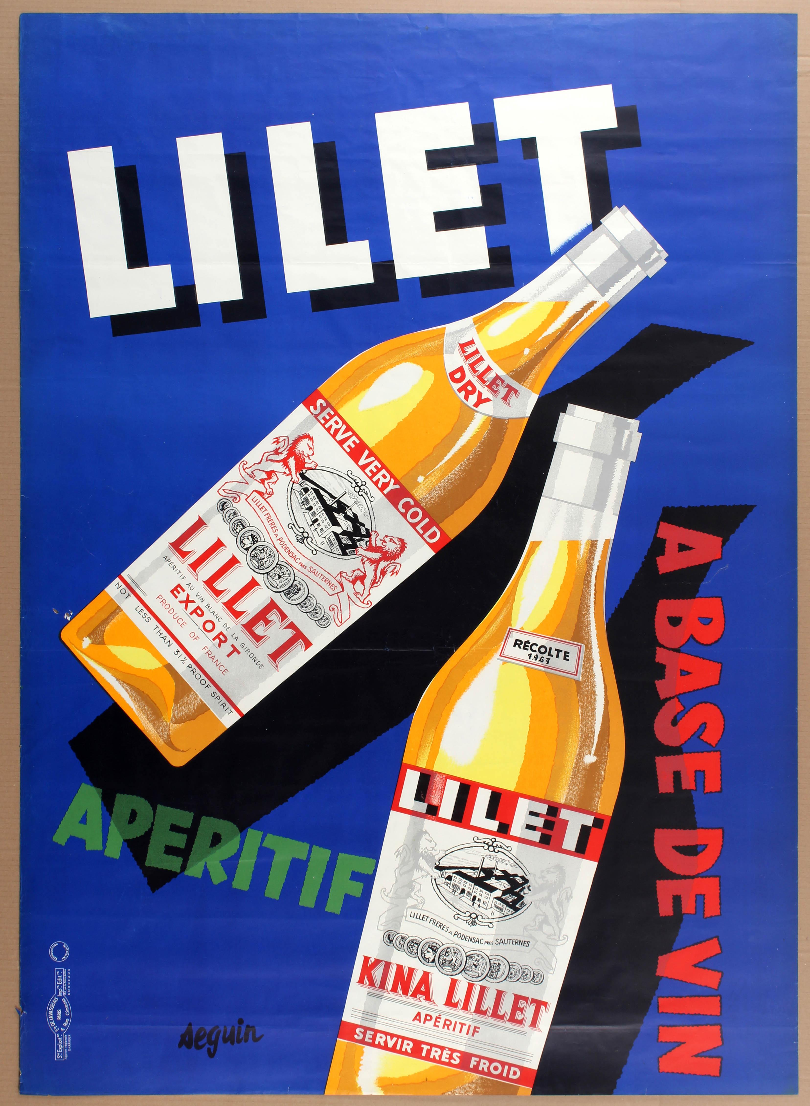 Lot 1521 - Advertising Poster Lilet Alcohol Wine Seguin