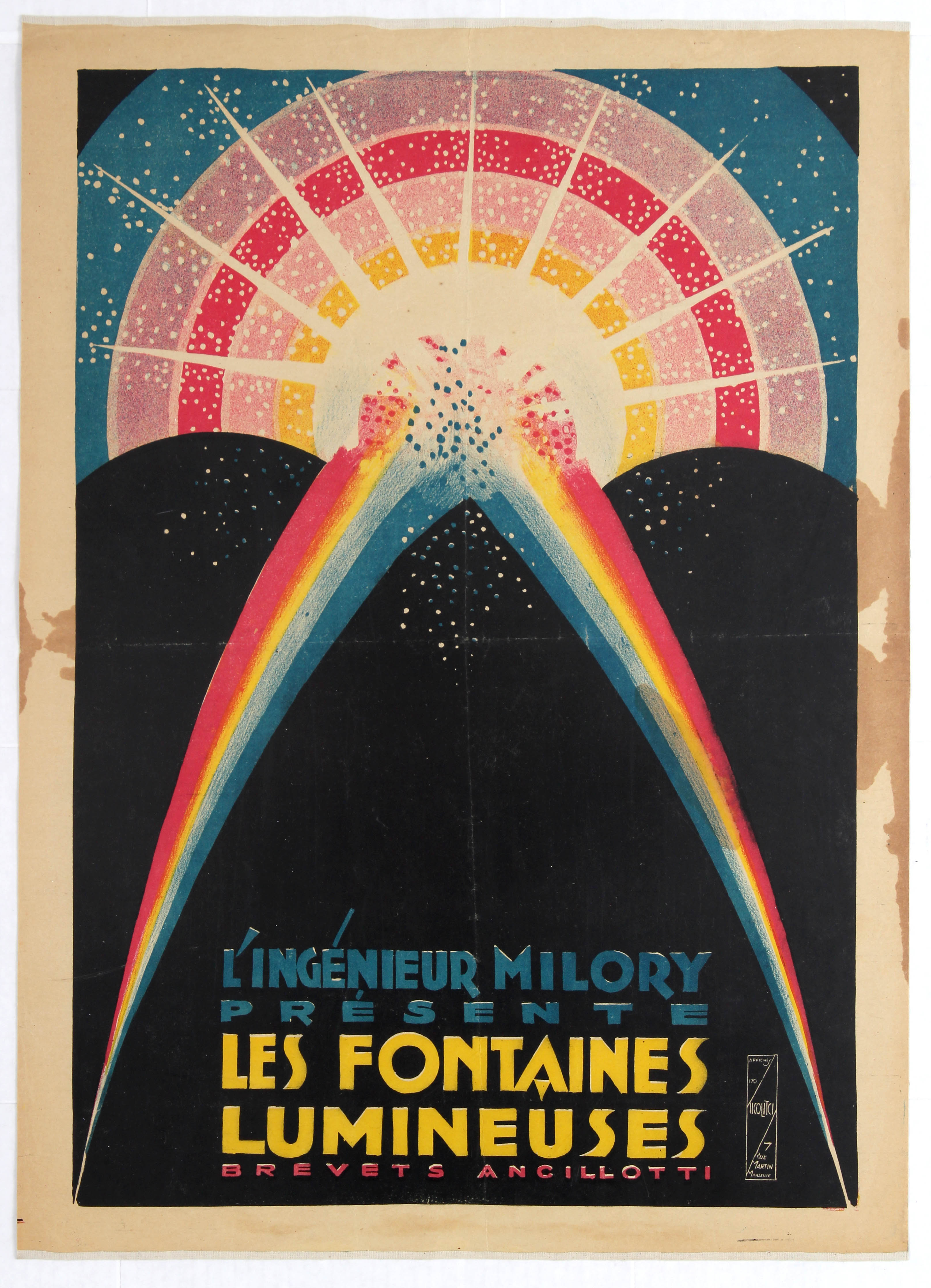 Lot 1301 - Advertising poster luminous fountains France