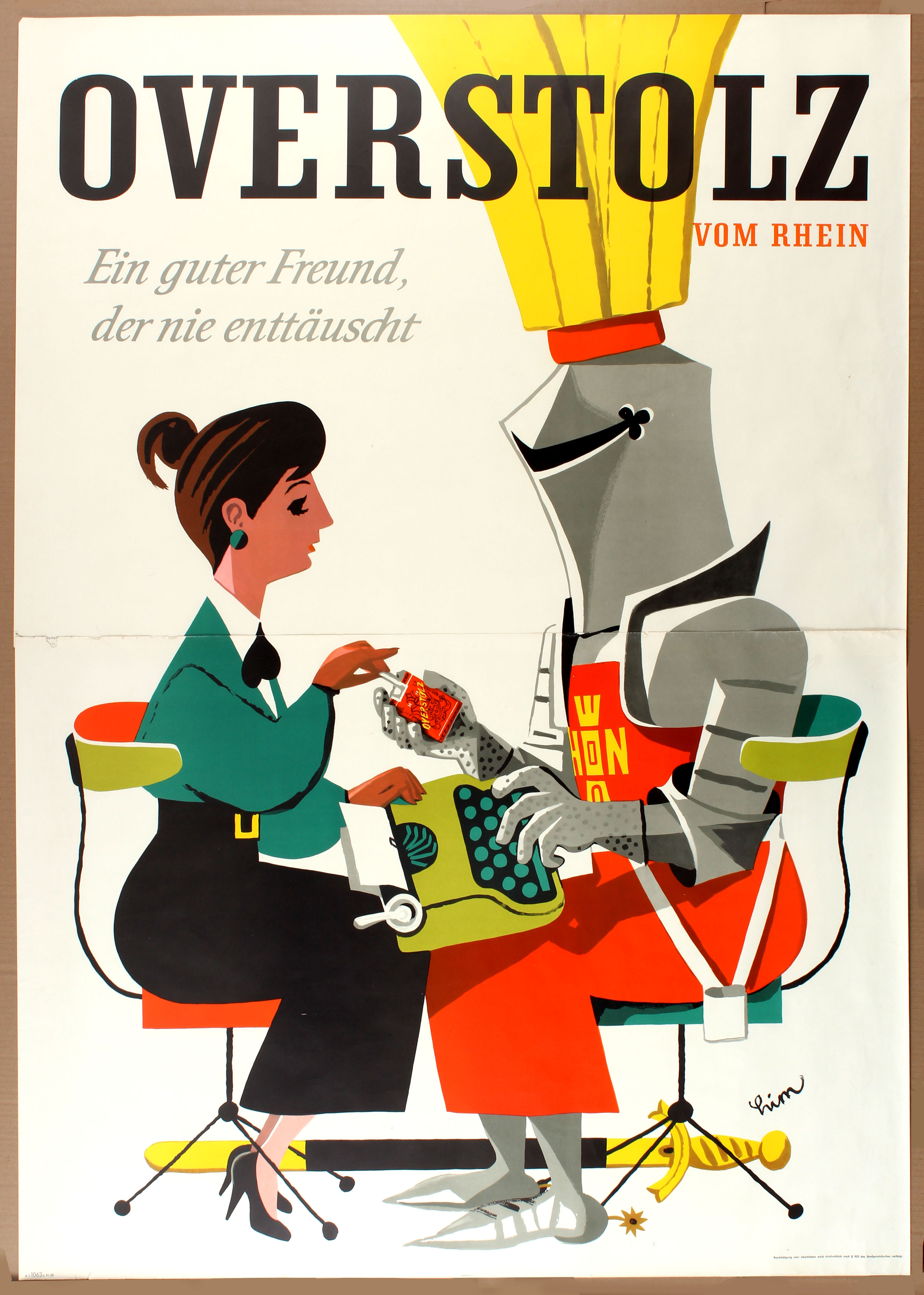Lot 1522 - Advertising Poster Cigarettes Overstolz Knight George Him