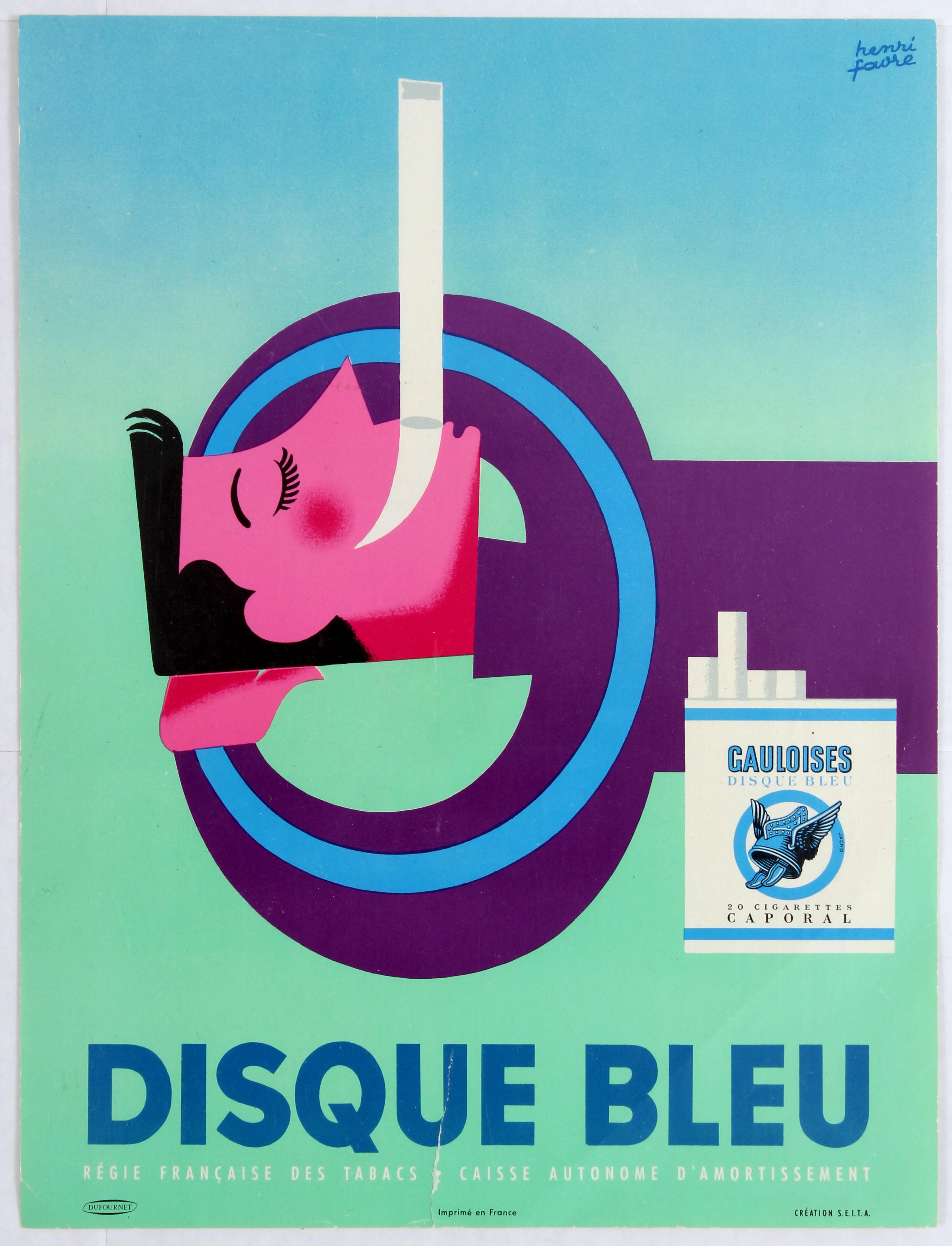 Lot 1506 - Advertising Poster Gauloise Disque bleu