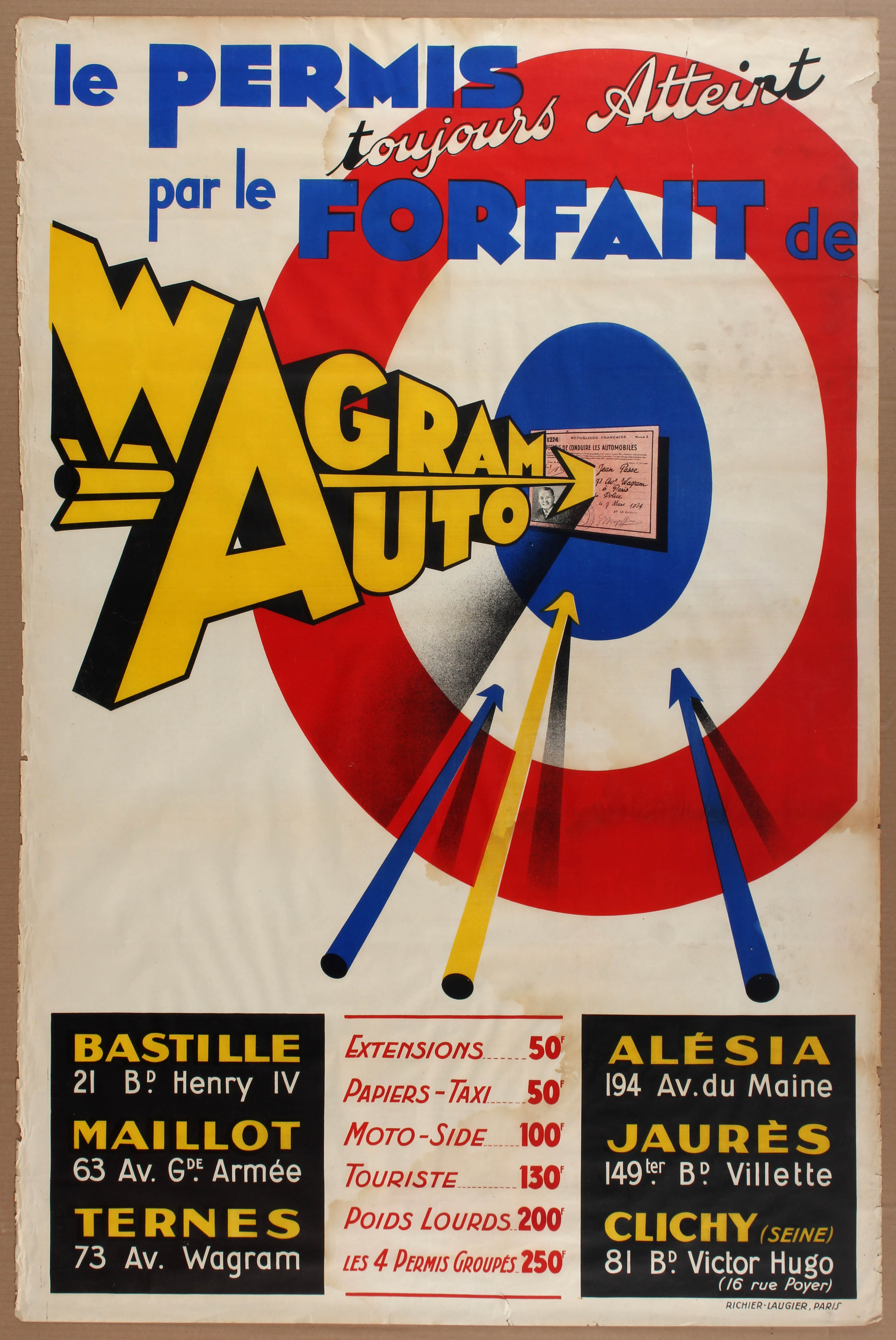 Lot 1304 - Advertising Poster Wagram Auto Driving School
