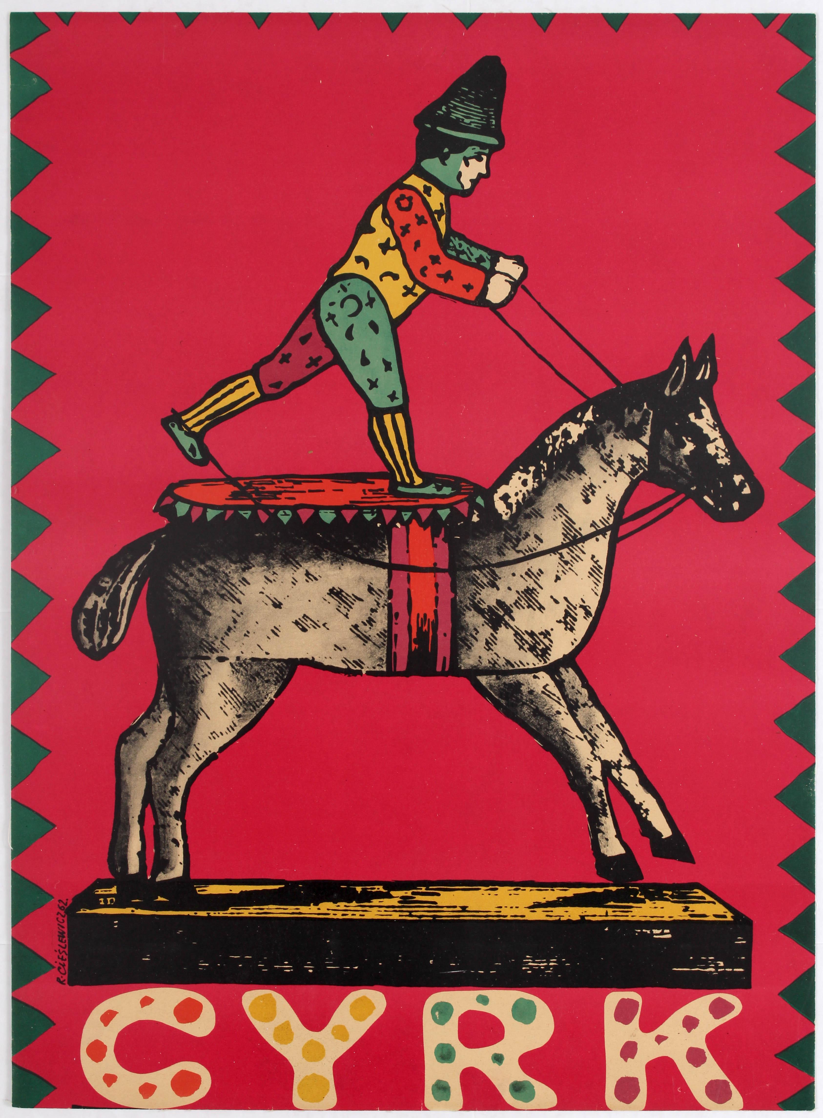 Lot 1603 - Advertising Polish Circus poster – Cyrk, wooden horse